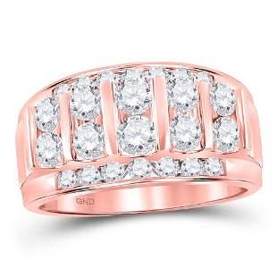 Round Diamond Wedding Channel Set Band Ring 2 Cttw 14KT