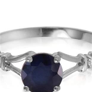 Genuine 1.02 ctw Sapphire & Diamond Ring 14KT White