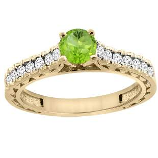 0.75 CTW Peridot & Diamond Ring 14K Yellow Gold
