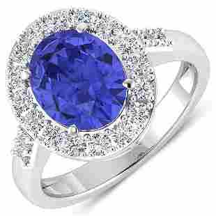 Natural 3.1 CTW Tanzanite & Diamond Ring 14K White Gold