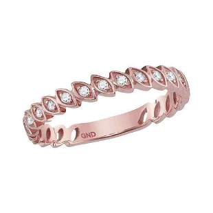 Round Diamond Marquise Shape Stackable Band Ring 1/10