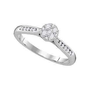 Round Diamond Cluster Ring 1/4 Cttw 14KT White Gold