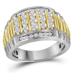 Round Diamond Cluster Ring Band 1 Cttw 14KT Two-tone