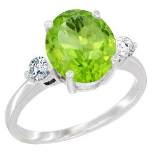 2.98 CTW Peridot & Diamond Ring 10K White Gold