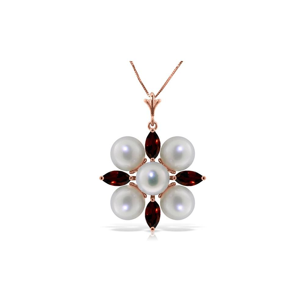 Genuine 6.3 ctw Garnet & Pearl Necklace 14KT Rose Gold