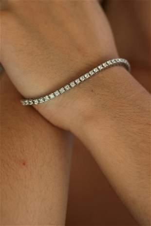 Natural 3.30 ctw Diamond Eternity Tennis Bracelet 14K