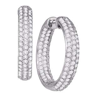 Round Pave-set Diamond Inside Outside Hoop Earrings