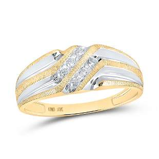Round Diamond Wedding Band Ring 1/8 Cttw 10KT Two-tone