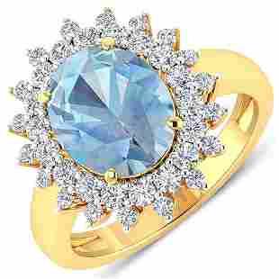 Natural 3.49 CTW Aquamarine & Diamond Ring 14K Yellow