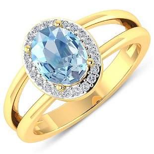 Natural 1.62 CTW Aquamarine & Diamond Ring 14K Yellow