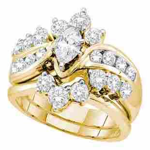 Bridal Wedding Ring Band Set 2 Cttw 14KT Yellow Gold