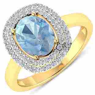 Natural 1.68 CTW Aquamarine & Diamond Ring 14K Yellow