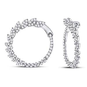 Round Diamond Fashion Hoop Earrings 1-1/2 Cttw 14KT