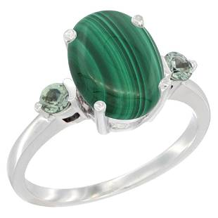 2.99 CTW Malachite & Green Sapphire Ring 10K White Gold