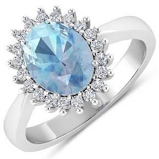 Natural 2.29 CTW Aquamarine & Diamond Ring 14K White