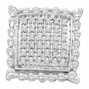Round Diamond Square Cluster Stud Earrings 1/2 Cttw