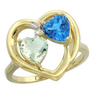 2.61 CTW Diamond, Amethyst & Swiss Blue Topaz Ring 10K