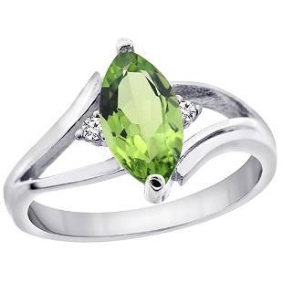 1.14 CTW Peridot & Diamond Ring 10K White Gold