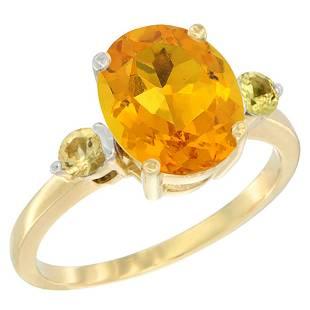 2.64 CTW Citrine & Yellow Sapphire Ring 10K Yellow Gold