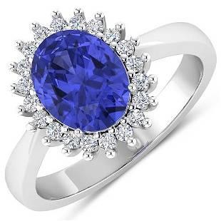 Natural 2.49 CTW Tanzanite & Diamond Ring 14K White