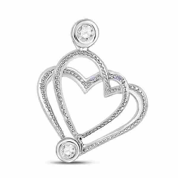 Round Diamond Double Heart Pendant .03 Cttw 10KT White
