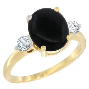 1.75 CTW Onyx & Diamond Ring 10K Yellow Gold