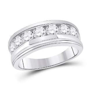 Round Diamond Single Row Band Ring 2 Cttw 14KT White