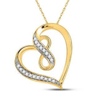 Round Diamond Heart Infinity Pendant 1/20 Cttw 10KT