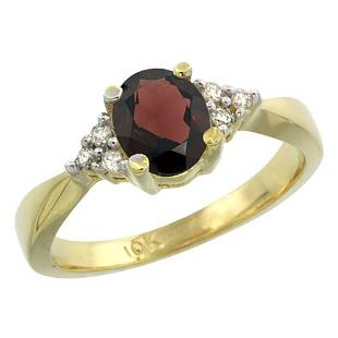 1.06 CTW Garnet & Diamond Ring 14K Yellow Gold -