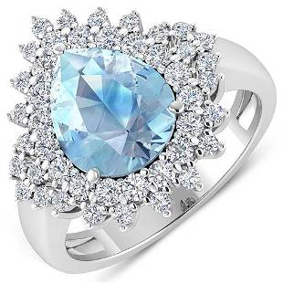 Natural 3.19 CTW Aquamarine & Diamond Ring 14K White