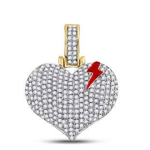 Round Diamond Bolt Crack Heart Charm Pendant 3/4 Cttw