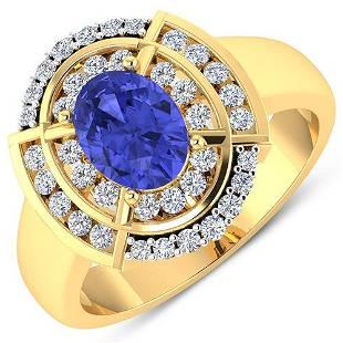 Natural 2.77 CTW Tanzanite & Diamond Ring 14K Yellow