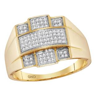 Round Diamond Domed Cross Ring 1/4 Cttw 10KT Yellow