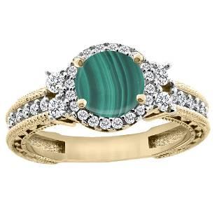 1.46 CTW Malachite & Diamond Ring 14K Yellow Gold -