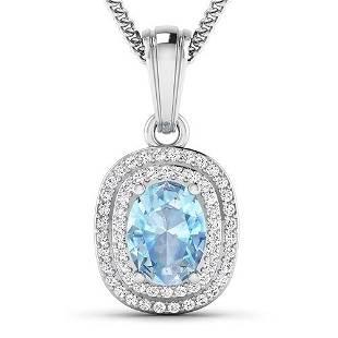 Natural 2.36 CTW Aquamarine & Diamond Pendant 14K White