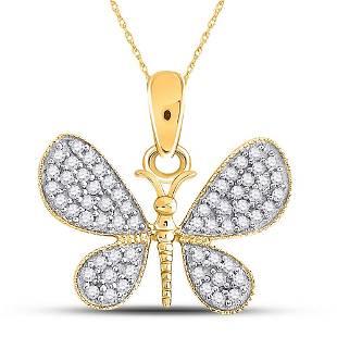 Round Diamond Butterfly Bug Pendant 1/3 Cttw 10KT
