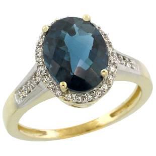 2.60 CTW London Blue Topaz & Diamond Ring 10K Yellow