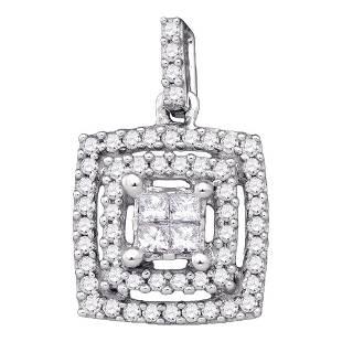 Princess Diamond Square Cluster Pendant 1/3 Cttw 14KT