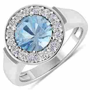 Natural 1.98 CTW Aquamarine & Diamond Ring 14K White