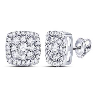 Round Diamond Square Cluster Earrings 1-1/4 Cttw 14KT