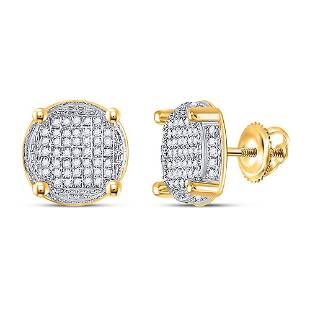 Round Diamond Circle Cluster Earrings 1/4 Cttw 10KT