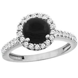 1.02 CTW Onyx & Diamond Ring 10K White Gold - REF-53M5A