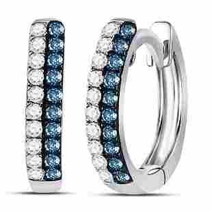 Round Blue Color Enhanced Diamond Huggie Earrings 1/5