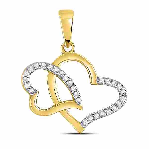 Round Diamond Double Heart Pendant 1/6 Cttw 10KT Yellow