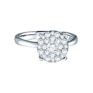 Diamond Cluster Bridal Wedding Engagement Ring 1/4 Cttw