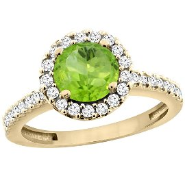 1.13 CTW Peridot & Diamond Ring 14K Yellow Gold -
