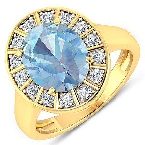 Natural 3.12 CTW Aquamarine & Diamond Ring 14K Yellow
