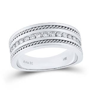 Round Diamond Wedding Band Ring 1/2 Cttw 14KT White