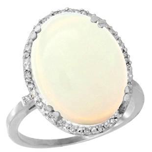 13.71 CTW Aquamarine & Diamond Ring 10K White Gold -