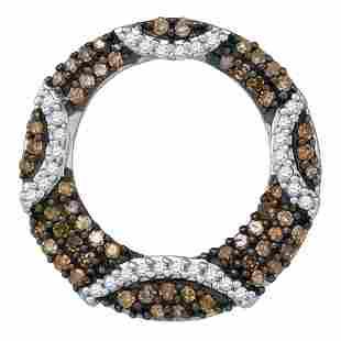 Round Brown Diamond Stripe Circle Pendant 3/8 Cttw 10KT